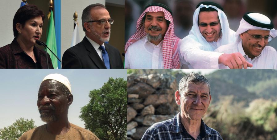 Right Livelihood-pristagarna 2018: Thelma Aldana (Guatemala), Iván Velásquez (Colombia), Abdullah al-Hamid, Mohammad Fahad al-Qahtani och Waleed Abu al- Khair (Saudiarabien), Yacouba Sawadogo (Burkina Faso) samt Tony Rinaudo (Australien).