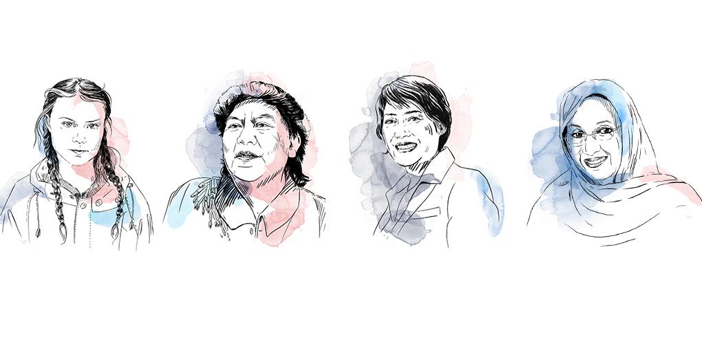 Greta Thunberg, Davi Kopenawa, Guo Jianmei och Aminatou Haidar Illustrationer: Anna Albert